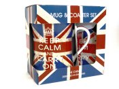 Union Jack Mugs & Coaster Set