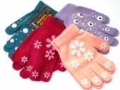 Girls magic gloves with rubber print, 6 asstd cols.