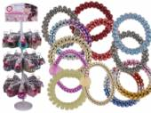 Plastic telephone cord hair ring/bracelet - asstd*