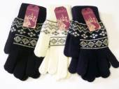 Ladies fairisle glitter gloves - 3/cols.