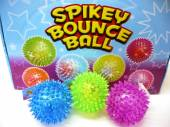 Box 12, 75mm spikey bounce ball with light