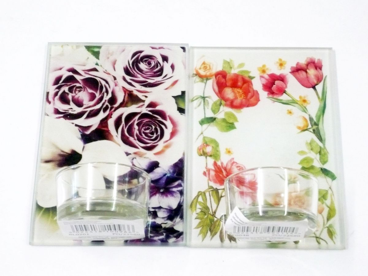 Glass tea light holder, H12cm - 4asstd*