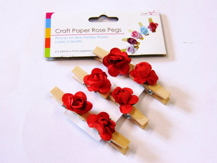 Pkt 6, craft paper rose pegs - 6/cols
