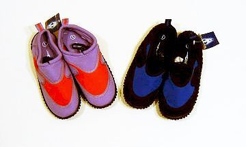 Aqua Shoes : Ctn 48, childs, mixed sizes 13-5, aqua shoes.