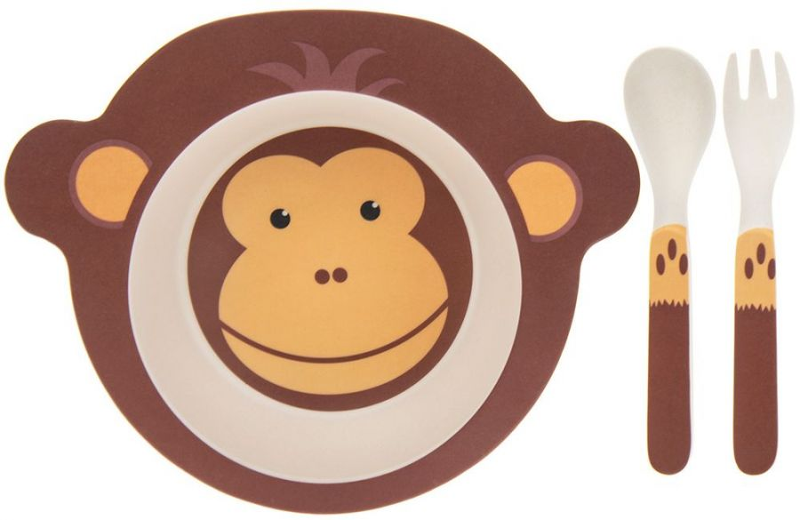 Bamboo Set : Bamboo monkey design bowl set.