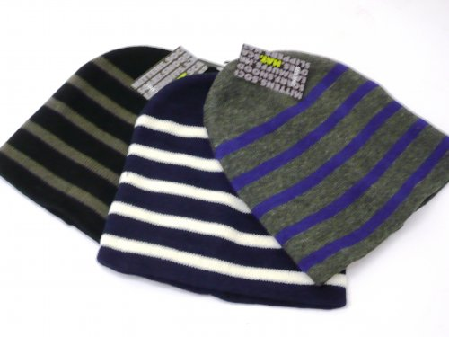 Mens striped knitted beanie hat.