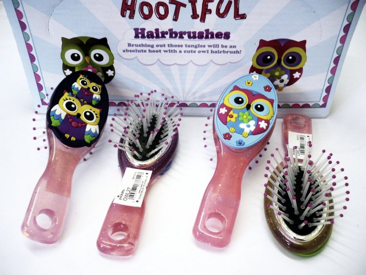 Cute owl childs hair brush (12x display)