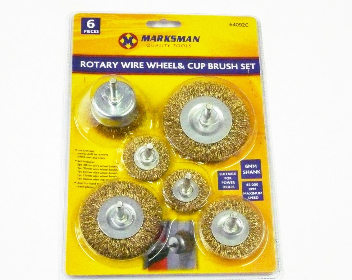 6pc rotary wire wheel/cup brush set*